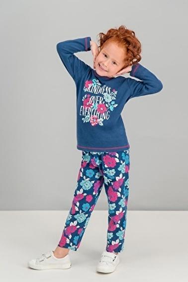 Roly Poly  Flowers Kindness Şeker Pembe Kız Çocuk Pijama Takımı Lacivert